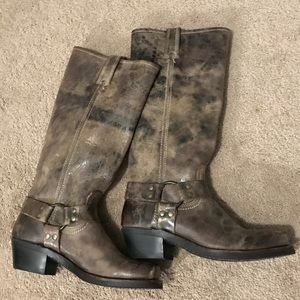 Frye boots, distressed Harness.